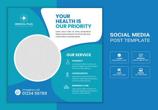 Health care and medical social media post banner, social media banner