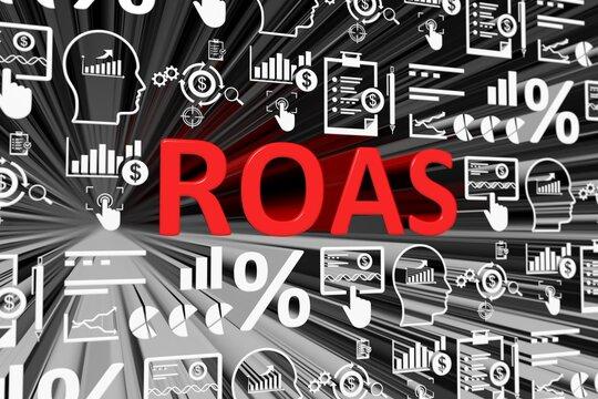 ROAS concept blurred background 3d render illustration