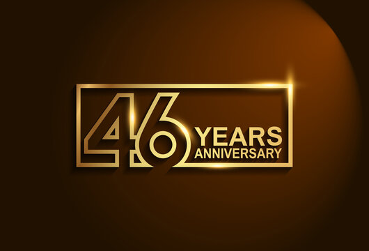 46 years anniversary golden design vector line style in square isolated on brown background can be use for celebration moment, greeting card and invitation