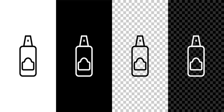 Set line Spray can for hairspray, deodorant, antiperspirant icon isolated on black and white,transparent background. Vector.