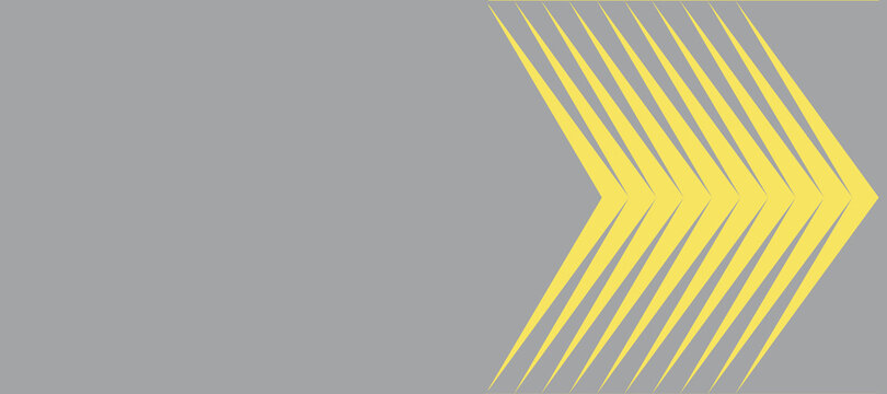 illustration of yellow arrows on a gray background. Color trend of the year 2021. High quality photo