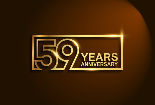 59 years anniversary golden design vector line style in square isolated in brown background can be use for celebration event, greeting card and invitation banner