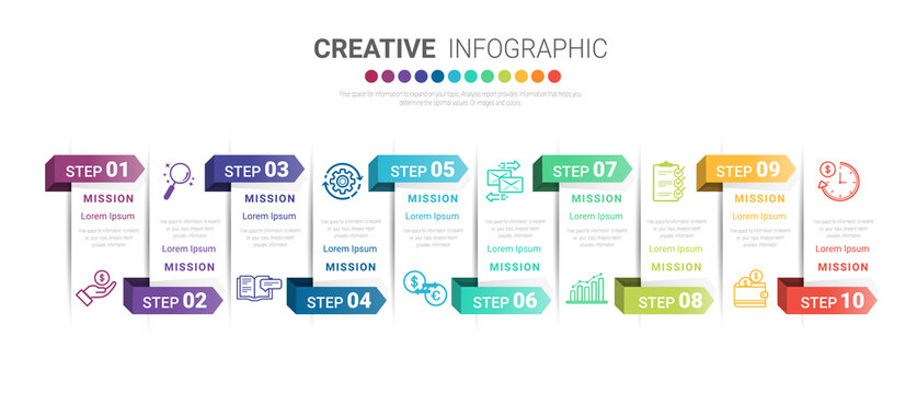 Infographic design template with numbers 10 option for Presentation infographic, Timeline infographics, steps or processes. Vector illustration.