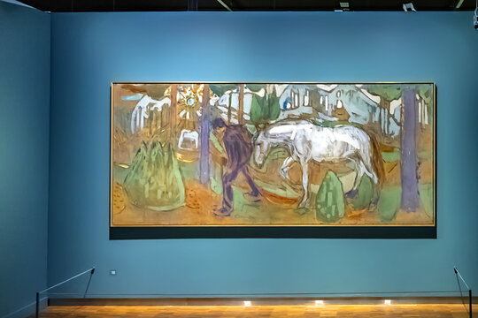 Interior of Oslo Munch museum. Norway, it has a large collection of the world famous painters work. OSLO, NORWAY. June 14, 2017.