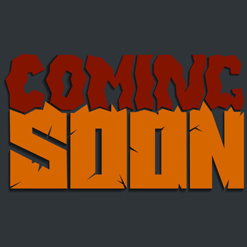 coming soon. Isolated vector lettering with unique curves and cracked color letters in different sizes. bright pattern for printing on T-shirts, stickers, banners, bags.