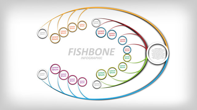 colorful fishbone infographic. Diagram analysis chart. Business problem solving chart and template for team brainstorming in company. Vector EPS10