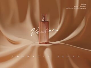 Realistic transparent cosmetic spray bottle ads scene illustration. Elegant luxury fabric drape podium for beauty product showcase or presentation. 3d realistic vector - fototapety na wymiar