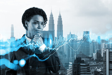 Attractive black woman trader and stock market analyst in suit dreaming about market behavior and forecast in crisis. Women in business concept. Forex chart. Kuala Lumpur. Double exposure. Wall mural