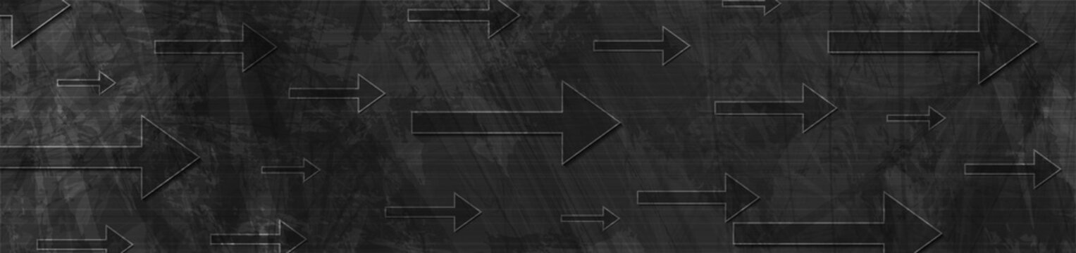 Technology black grunge banner design with arrows. Abstract geometric vector background