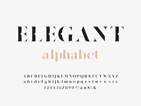 Modern elegant display alphabet design with uppercase, lowercase, numbers and symbol