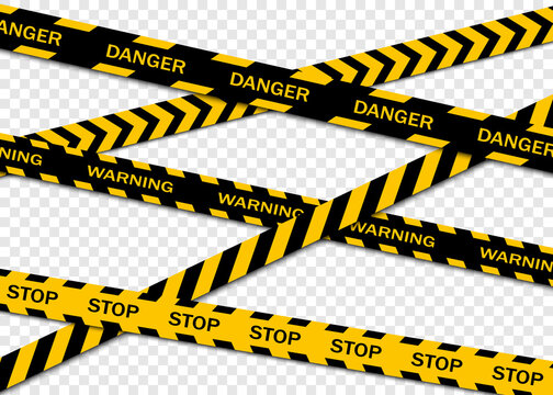Set of warning tapes isolated on transparent background. Warning tape, danger tape, caution tape, under construction tape. Vector illustration
