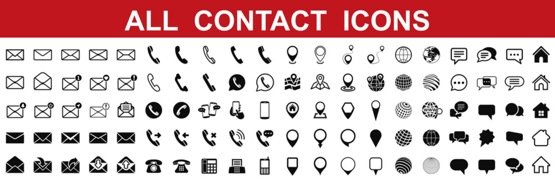 Set grey contact icons, communication signs - for stock