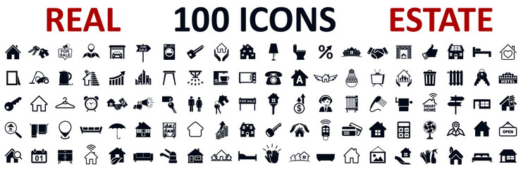 Fototapeta Set 100 Real Estate icons. Realty, property, mortgage, home loan, houses and more, collection real estate sign - stock vector obraz