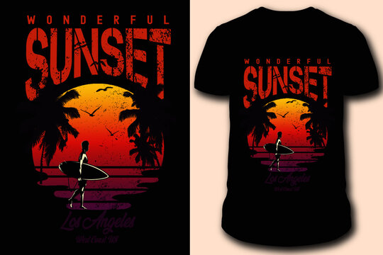 Los Angeles Sunset Beach With Surfing Man and Palm Trees on West Coast. US