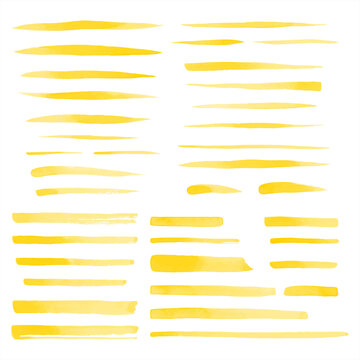 Set, collection of vector yellow watercolor brush strokes, uneven lines, rectangle stripes, underlines, doodle streaks, fusiform smears. Hand drawn design elements, text backgrounds, templates.
