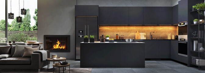 Beautiful open plan matte black kitchen and dining area with fireplace