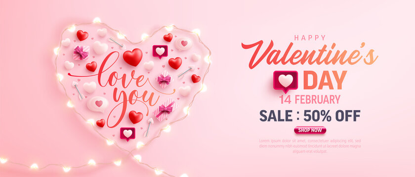 Happy Valentine's Day Sale Poster or banner with symbol of heart from LED String lights and valentine elements on pink background. Promotion and shopping template for love and Valentine's day concept.