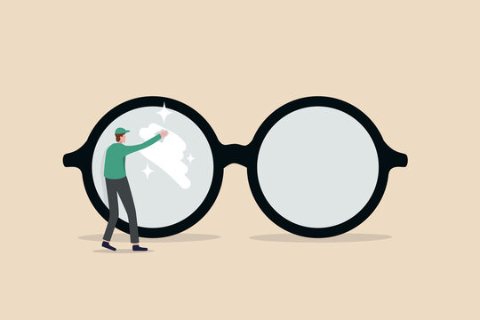 Clear business vision, see through lenses in details or clean and clear business outlook concept, miniature worker cleaning huge eyeglass lenses for owner to get clear vision.