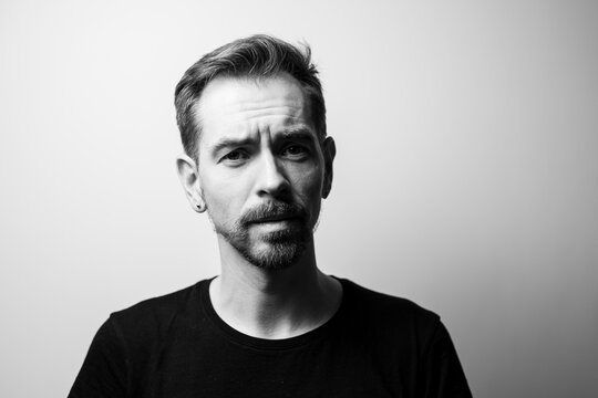 Portrait of a sad man. Black and white.