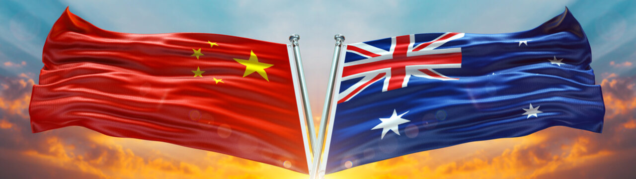 Double Flag Australia and China flag waving flag with texture sky Cloud and sunset