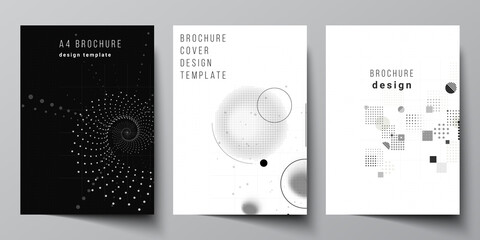 Vector layout of A4 cover mockups templates for brochure, flyer layout, booklet, cover design, book design. Abstract technology black color science background. Digital data. Minimalist high tech. - fototapety na wymiar