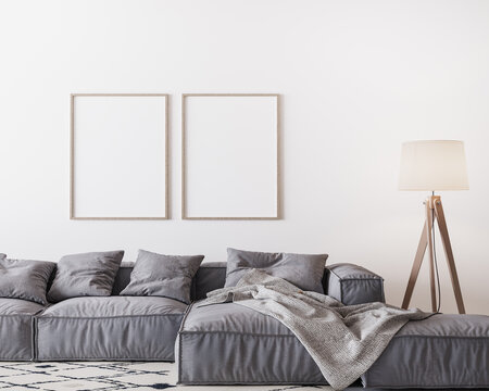 Home interior mock-up with gray sofa and wooden floor lamp in bright living room, two wooden frame mockup on white wall, 3d render