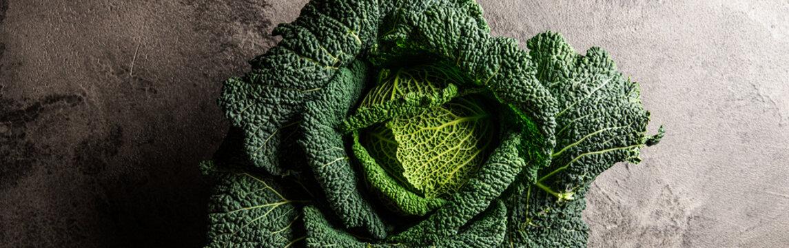Savoy cabbage close up. Healthy cabbage. Vegetarian diet.