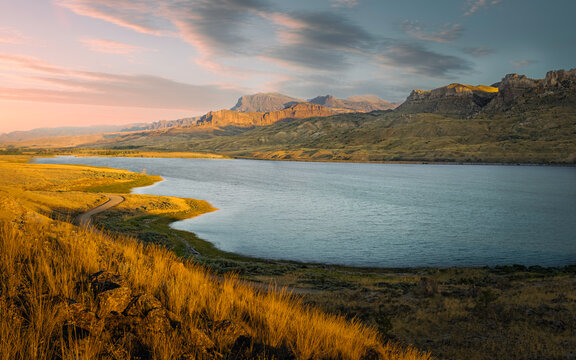 Shoshone river and foothills of Rocky Mountains near Cody, Wyoming, USA.