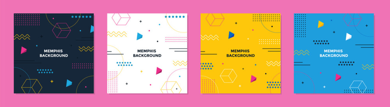 Abstract Colorful Memphis Square Background. Trendy geometric abstract square template.