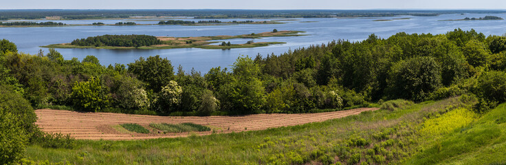 Fototapeta Dnipro river shores summer panoramic landscape, Kaniv water Reservoir, Kyiv Region, Ukraine.