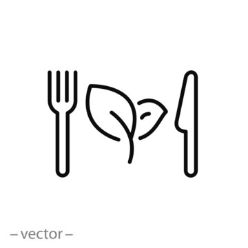 healthy food icon, organic fresh eat, fork with knife and leaf, vegan salad, nutrition for vegetarian restaurant, meal diet, thin line symbol on white background - editable stroke vector illustration