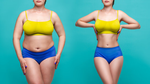 Woman's body before and after weight loss on blue background