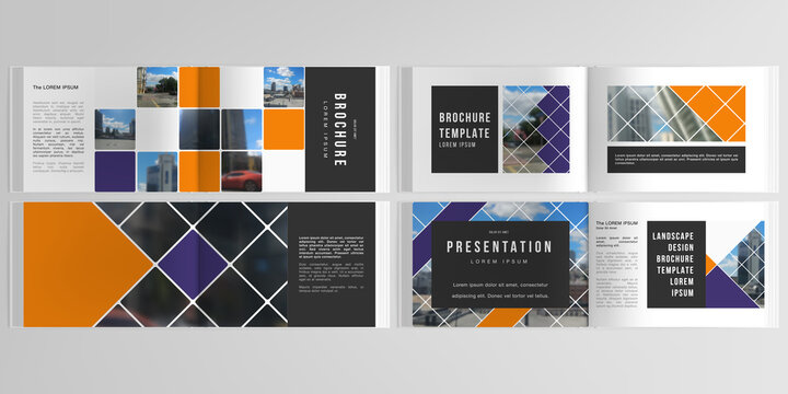 Vector layouts of horizontal presentation templates for landscape design brochure, cover design, book design, magazine. Abstract design project in geometric style with squares and place for photo.
