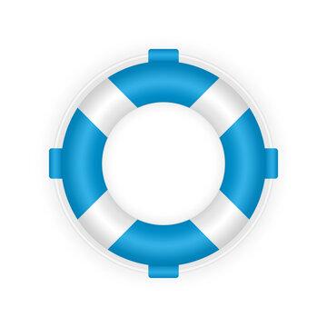Realistic blue 3d lifebuoy. Rescue life belt illustration