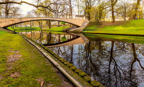 Early spring in central park of Riga - the capital and largest city of Latvia, a major commercial, cultural, historical and  tourist center of the Baltic region