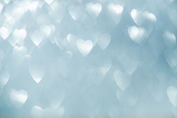 heart shaped bokeh on silver background