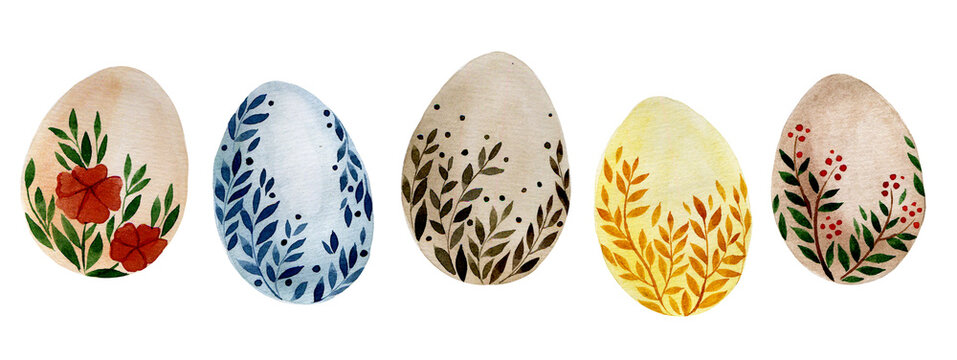 watercolor drawing by hands. set of Easter eggs. cute set with colored eggs with drawings of leaves and flowers. natural colors, boho style