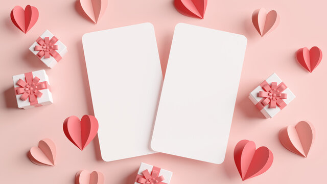 Valentines day vertical greeting cards mockup surrounded by paper hearts and gifts in 3D rendering. Flat lay illustration anniversary wedding invitation concept