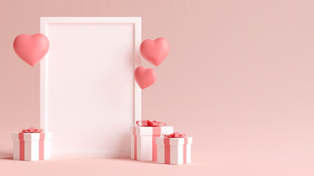 Vertical white photo frame mockup with hearts, love and gifts for valentines day in 3D rendering. Minimal 3D illustration wedding concept background
