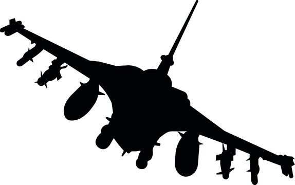 F16 plane, flight of the F16 military plane.  Isolated   silhouette