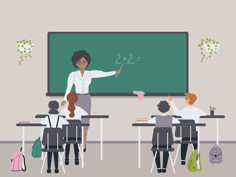 African female math teacher explaining multiplication to elementary school pupils or children near chalkboard. Young woman teaching mathematics or arithmetic to kids sitting at desks in class.Vector