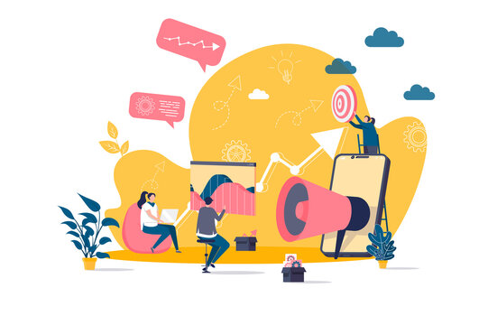Digital marketing concept in flat style. Marketers team doing market research scene. Business analytics and customer targeting web banner. Vector illustration with people characters in work situation.
