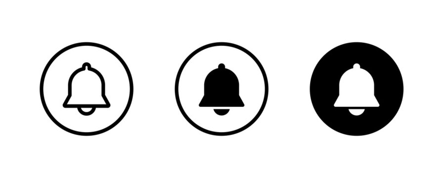 Message notification bell incoming inbox message, ringing, Alarm, service, handbell Firefighter call icons button, vector, sign, symbol, logo, illustration, editable stroke and flat design isolated