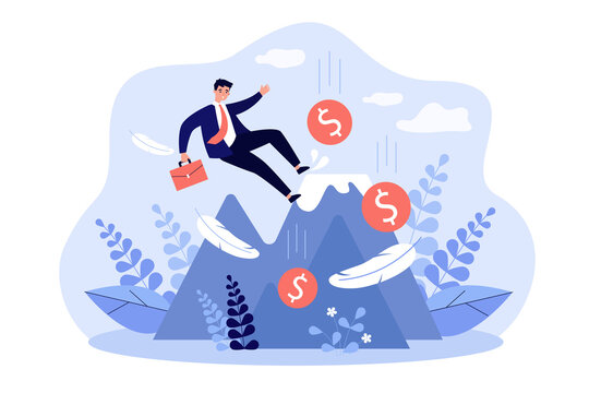 Business leader making mistake and falling down from top of mountain. Careless bankrupt losing money. Vector illustration bankruptcy warning, loss prevention, error, financial failure concept