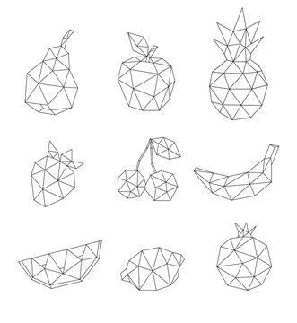 Low poly fruit set isolated on white. Decorative  geometric triangle apple, cherry, pear and other. Icon collection for tattoo design. Vector stock illustration.