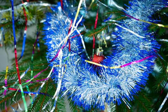 New Year's rain on the Christmas tree
