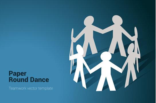 team in chain round dance