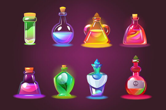 Bottles of magic potions set. Cartoon jars with love elixir, glass chemical vials with corks on dark purple background. Vector illustration for witchcraft lab, alchemy, Halloween, poison concept