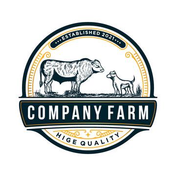 Vintage Cattle Farm Logo Retro designs