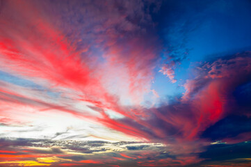 clouds in the blue sky, nature, environment and meteorology